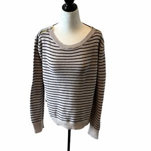 AMERICAN EAGLE Striped Knit Cream & Navy Sweater M